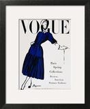 Vogue Cover - April 1947 - Black and Blue Art Print by  Dagmar