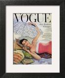 Vogue Cover - July 1954 - Beach Babe Art Print by Karen Radkai