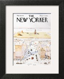 The New Yorker Cover, View of the World from 9th Avenue - March 29, 1976 Art Print by Saul Steinberg