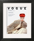 Vogue Cover - November 1951 - Red Hat, Fur Coat Art Print by Clifford Coffin