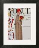 Vogue Cover - February 1956 - Flowers and Fashion Wall Art by Karen Radkai