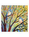 Two Bluebirds Posters by Jennifer Lommers