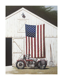 Barn and Motorcycle Poster af Zhen-Huan Lu