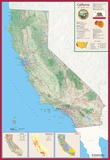 California Laminated Wall Map Prints