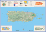 Puerto Rico Laminated Wall Map Posters