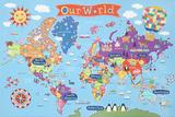 Kid's Laminated World Map Poster