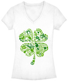 Juniors: Lucky Shamrock V-Neck Womens V-Necks