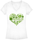 Juniors: Lucky Irish Heart V-Neck Shirt