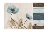 Blu Scroll Poppies Premium Giclee Print by Albert Koetsier