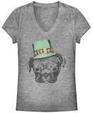 Juniors: Irish Puppy V-Neck T-Shirt
