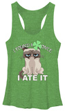 Juniors Tank Top: Grumpy Cat- Clover Snack Shirts