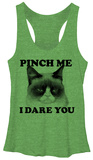 Juniors Tank Top: Grumpy Cat- Pinch Me Damestanktops