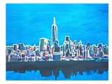 NYC WTC1 Shimmering Skyline Poster by M Bleichner