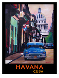 Cuban Oldtimer Street Scene In Havanna Cuba With Buena Vista Feeling Poster 1 Posters by M Bleichner