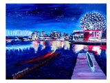 Vancouver Skyline At Starry Night Prints by M Bleichner