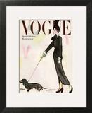 Vogue Cover - March 1947 - Dachshund Stroll Art Print by René R. Bouché