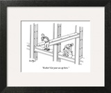 """Escher! Get your ass up here."" - New Yorker Cartoon Art Print by Robert Leighton"
