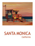 Santa Monica Beach Scene California Poster Prints by M Bleichner
