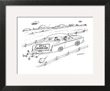 Sign on back of car. - New Yorker Cartoon Art Print by Michael Maslin