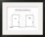 Hamlet's Duplex': Scene in a hallway with two apartment doors: '2-B' and '… - New Yorker Cartoon Wall Art by Robert Mankoff