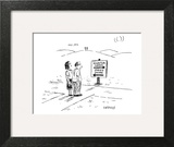 (A middle-aged couple stand at a road sign pointing to two different direc… - New Yorker Cartoon Wall Art by David Sipress
