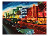 Miami Ocean Drive With Mint Cadillac Prints by M Bleichner