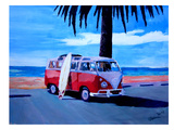 The Red Surf Bus Prints by M Bleichner