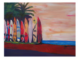 Surf Board Fence Wall At The Seaside Prints by M Bleichner