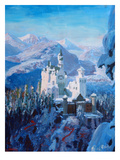 Neuschwanstein In Winter-Blau2 Posters by M Bleichner