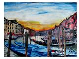 Venice - Gondolas On Canal Grande Print by M Bleichner