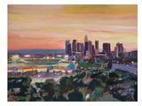 LA Stadium With Skyline At Dusk Art par M Bleichner