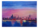 Chicago Sunset Blue Lámina giclée por M Bleichner