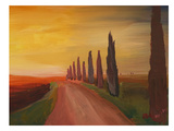 Country Road In Tuscany Italy At Sunset Prints by M Bleichner