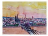 Cologne Deutz Bridge Sunset 2 Prints by M Bleichner