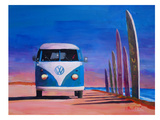 Blue White VW Surf Bus T1 Kombie Bulli At Surf Board Road Prints by M Bleichner