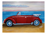 Red Bug With Sea Prints by M Bleichner