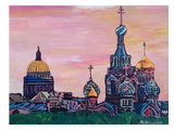 Saint Petersburg With Golden Couples Poster by M Bleichner