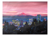 Portland Or Mt Hood Red Posters by M Bleichner