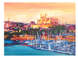 Spain Balearic Island Palma De Mallorca With Harbour And Cathedral Neu Affiches par M Bleichner
