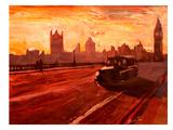 London Bus Dusk Láminas por M Bleichner