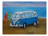 Blue Surfbus With Surf Boards Posters by M Bleichner