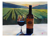 Napa Valley Wine Bottle And Glass Prints by M Bleichner