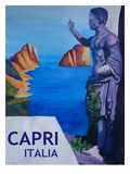 Capri With Ancient Roman Empire Statue Poster by M Bleichner