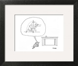 Cat thinks of a complex equation to get a ball off of a table. - New Yorker Cartoon Wall Art by Jack Ziegler