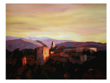 Alhambra Granada Spain With Snow Covered Mountains Prints by M Bleichner