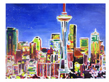 Neon Shimmering Seattle Skyline Prints by M Bleichner