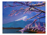 Mount Fuji With Lake And Almond Blossom Time Posters by M Bleichner