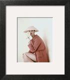 Vogue - March 1956 - Model Evelyn Tripp wearing pink ensemble Art Print by Karen Radkai