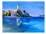 Malcesine With Castello Scaligero2 Print by M Bleichner
