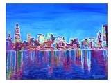 Chicago Skyline Neon Shimmering Prints by M Bleichner